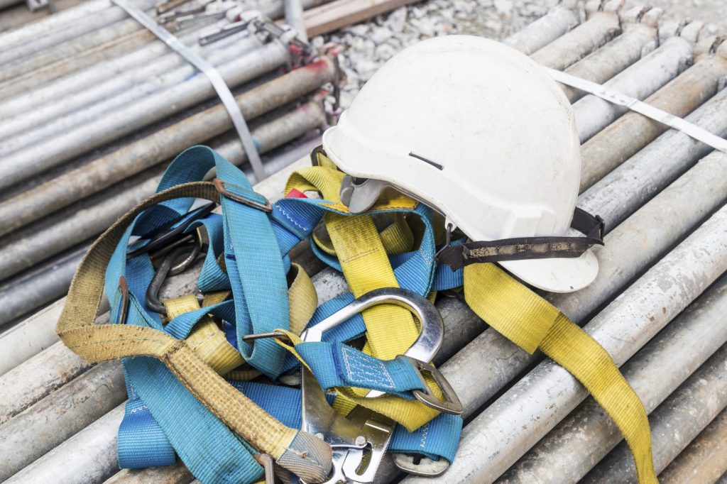 Safety harness and helmet at construction site